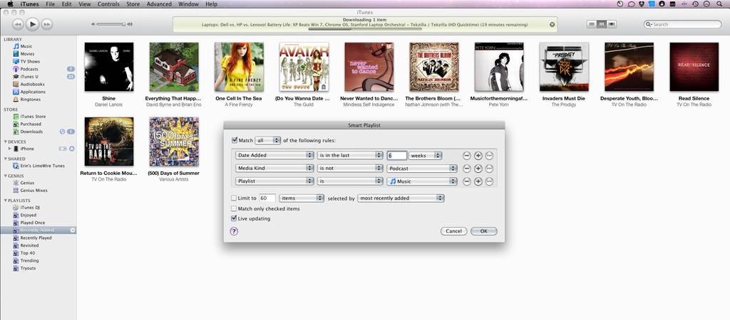 Smart Playlists in iTunes