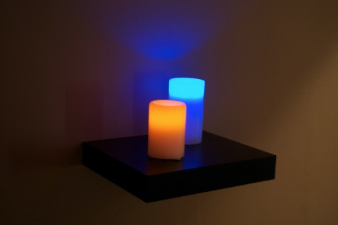 LED Candles on Wall Shelf